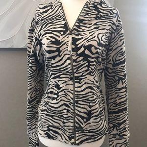 Lucy Zebra Print Full Zip Hoodie Size Large